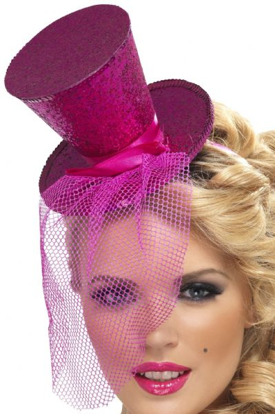 Burlesque Mini Top Hat On Headband Hot Pink